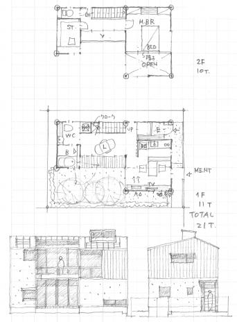 木組みの家のアイデアスケッチ