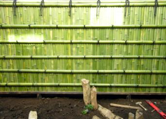木組みの家「高円寺の家」お庭の塀は竹