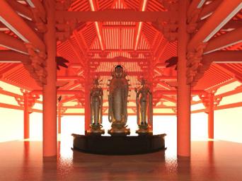 阿弥陀如来像のイメージ写真。浄土寺格子から漏れた光が床に反射した効果