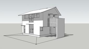 木組みの家「八王子の家」SketchUp外観
