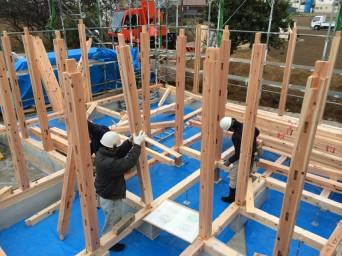 木組みの家「我孫子の家2」建方6