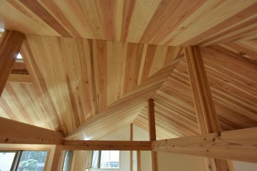木組みの家「深大寺の家」完成時2階天井