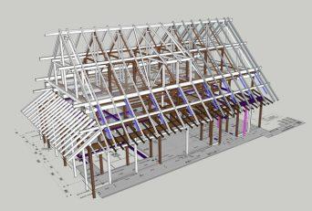 八王子の古民家再生 架構3D検討